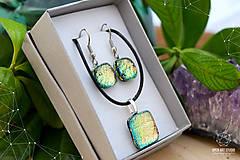 Sady šperkov - Ružovo-zeleno-zlatá sada sklenených šperkov - 8893561_