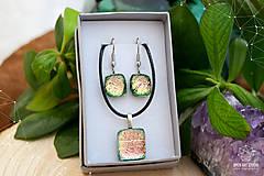 Sady šperkov - Ružovo-zeleno-zlatá sada sklenených šperkov - 8893562_
