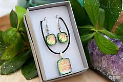 Sady šperkov - Ružovo-zeleno-zlatá sada sklenených šperkov - 8893564_