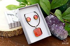 Sady šperkov - Oranžová sada sklenených šperkov - 8893658_