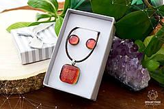 Sady šperkov - Oranžová sada sklenených šperkov - 8893659_