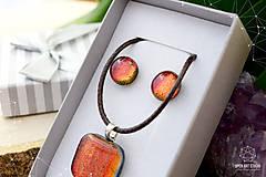 Sady šperkov - Oranžová sada sklenených šperkov - 8893660_