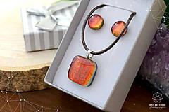 Sady šperkov - Oranžová sada sklenených šperkov - 8893661_