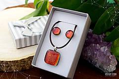 Sady šperkov - Oranžová sada sklenených šperkov - 8893662_
