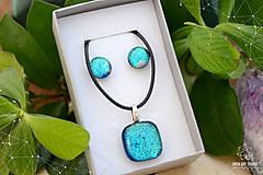 Sady šperkov - Tyrkysová modrá sada sklenených šperkov - 8893726_