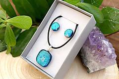 Sady šperkov - Tyrkysová modrá sada sklenených šperkov - 8893728_