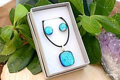 Sady šperkov - Tyrkysová modrá sada sklenených šperkov - 8893729_
