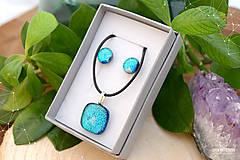 Sady šperkov - Tyrkysová modrá sada sklenených šperkov - 8893730_