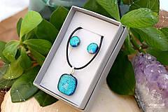 Sady šperkov - Tyrkysová modrá sada sklenených šperkov - 8893731_