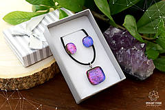 Sady šperkov - Fialovo-ružová sada sklenených šperkov II. - 8895193_