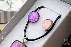 Sady šperkov - Fialovo-ružová sada sklenených šperkov II. - 8895195_