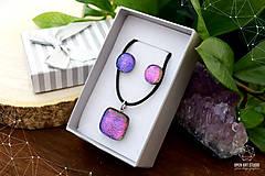 Sady šperkov - Fialovo-ružová sada sklenených šperkov II. - 8895196_