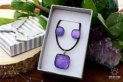 Sady šperkov - Fialovo-ružová sada sklenených šperkov II. - 8895197_
