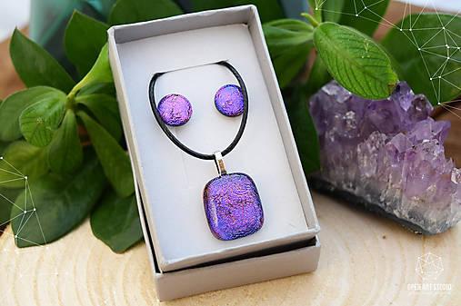 Fialovo-ružová sada sklenených šperkov
