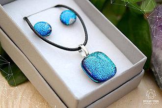 Sady šperkov - Tyrkysová modrá sada sklenených šperkov - 8893727_