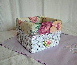 Košíky - Romantický košík ŽANETKA / ks - 8893792_