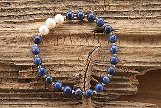 Náramky - Náramok lapis lazuli a perly - 8899881_