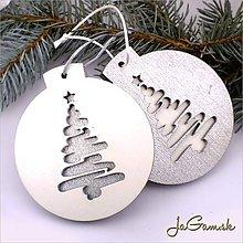 Dekorácie - Vianočná ozdoba 8 cm 1 ks (dv1066bs) (Strieborná s bielym podkladom) - 8899241_