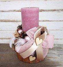 Svietidlá a sviečky - Prírodný vianočný svietnik staroružovej farby - 8900744_