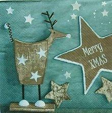 Papier - S1102 - Servítky - Vianoce, los, sob, hviezda, xmas - 8898974_