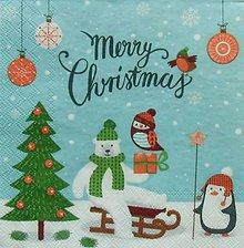 Papier - S1105 - Servítky - Vianoce, zima, sneh, medveď, tučniak - 8899197_