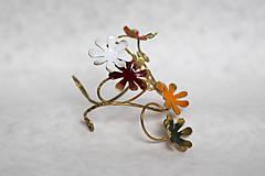 Náramky - Mosadzný pevný náramok s farebnými kvetmi - Slavianka - 8900234_