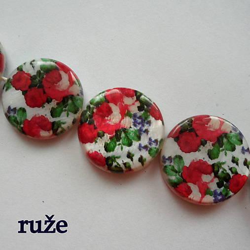 Perleť.placka 20mm-kvety-1ks (ruže)