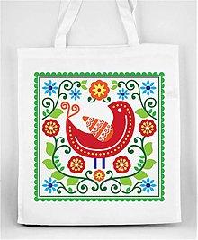 Nákupné tašky - Nákupná taška farebné folk kvety a vtáčik 05 - 8898281_