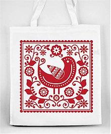 Nákupné tašky - Nákupná taška farebné folk kvety a vtáčik 05 (Červená) - 8898282_
