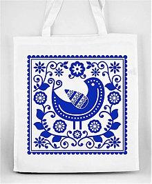 Nákupné tašky - Nákupná taška farebné folk kvety a vtáčik 05 (Modrá) - 8898292_