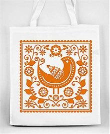 Nákupné tašky - Nákupná taška farebné folk kvety a vtáčik 05 (Oranžová) - 8898295_