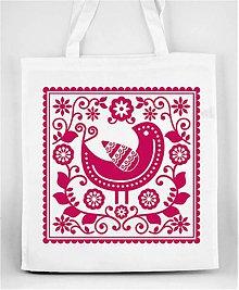 Nákupné tašky - Nákupná taška farebné folk kvety a vtáčik 05 (Ružová) - 8898297_