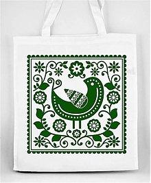 Nákupné tašky - Nákupná taška farebné folk kvety a vtáčik 05 (Zelená) - 8898298_