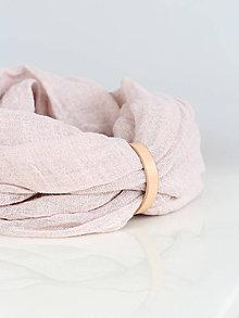 Šály - Jemný púdrovo ružový hrejivý ľanový nákrčník - 8900653_