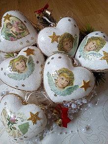 Dekorácie - ZĽAVNENÉ - SADA veľkých vianočných srdiečok s anjelikom - 8898965_