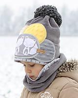 Detské čiapky - Hrejivý setík s líškami - 8898553_
