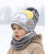 Detské čiapky - Hrejivý setík s líškami - 8898555_