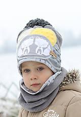 Detské čiapky - Hrejivý setík s líškami - 8898556_