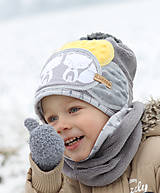 Detské čiapky - Hrejivý setík s líškami - 8898559_