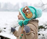 Detské čiapky - Hrejivý set s mackom - 8898578_