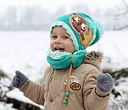 Detské čiapky - Hrejivý set s mackom - 8898580_