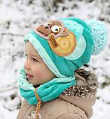 Detské čiapky - Hrejivý set s mackom - 8898581_