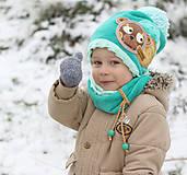 Detské čiapky - Hrejivý set s mackom - 8898582_