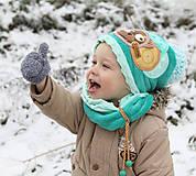 Detské čiapky - Hrejivý set s mackom - 8898583_