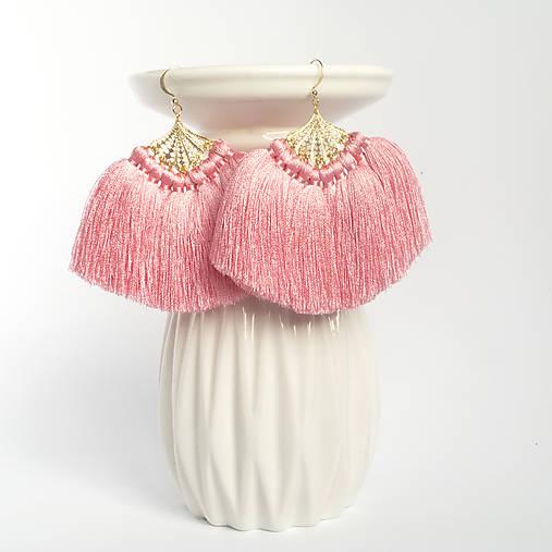 Náušnice - Strapcové náušnice: Ružové vejáre  - 8900561_