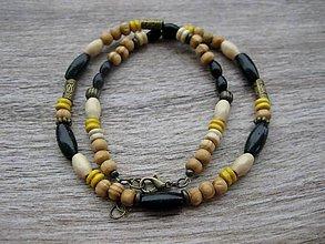 Šperky - Pánsky náhrdelník okolo krku drevený čierno žltý č.1656 - 8898833_
