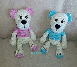 Hračky - Hačkovaný  modrý medvedík - 8900753_