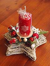 Dekorácie - Svietnik v červenom s vločkou so sviečkou - 8897908_