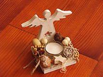 Dekorácie - Drevený anjelik - svietnik - 8897926_