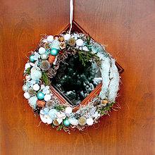 Dekorácie - Vianočný veniec na dvere, okno, mint, tyrkys - 8903277_